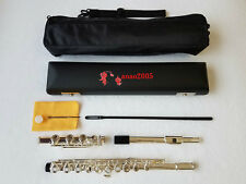 Professional 17 open hole silver plated flute E key B Foot with leather case