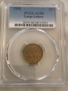 1858 Flying Eagle Cent Large Letters PCGS AU-58.