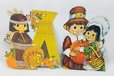 Vintage Thanksgiving Pilgrim & Indian Cardboard Cutouts Decorations Fall