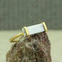 925 SILVER JEWELRY NATURAL DENDRITIC AGATE GOLD PLATED RING SIZE 7 KR1039