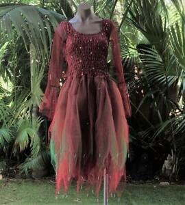 Fairy Renaissance Dress ADULT Costume w/ Sleeves and Wings Maroon & Green