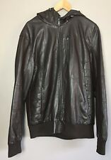 Mens Brown Pleather Jacket  Primark Size Large, Hood