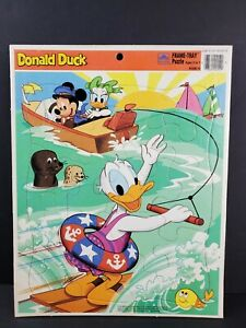 Vintage Donald Duck Water Disney Golden Big PUZZLE Frame Tray 20 Pcs Complete 🧩