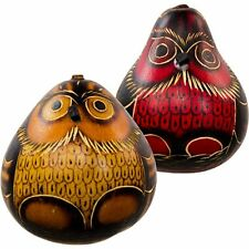 #28 Gourd Shakers Owl Maracas Rattlers Hand Carved Peru Mix Colors Andes 2 Pack