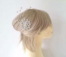 Beautiful silver tone & diamante bridal flower & starburst style metal hair comb