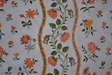 "Pretty vintage orange flowers cream lined cotton fabric curtains 36 x 44""L"