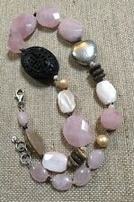 Silpada Rose Quartz Freshwater Pearl Sterling Silver Necklace. N1819 $129 EUC