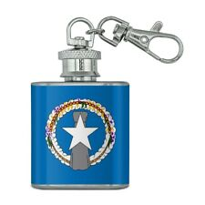 New listing Northern Mariana Islands Us Territory Flag Stainless Steel 1oz Flask Key Chain