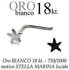 Piercing da naso nose ORO BIANCO 18kt. a STELLA MARINA starfish white gold 18kt