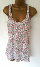 Women's Jack Wills white & floral sleeveless top, size 8