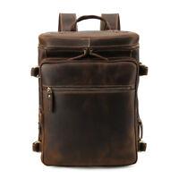 "Men Full Grain Leather Backpack 16"" Laptop Daypack Travel Camping School Bag"