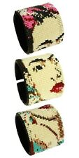 BR710 Glass Beads Frida Kahlo Icon Wide Bracelet Cuff Pearl Shades Guatemala New