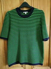 COS short Sleeved Retro Jumper Green And Navy. Size S, size 12, see measurements