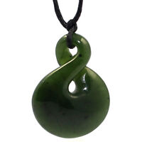 AUTHORITY GENUINE NATURAL NZ MAORI DOUBLE TWIST GREENSTONE PENDANT