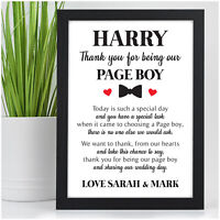 PERSONALISED Page Boy Best Man Usher Ring Bearer Security Poem Thank You Gifts