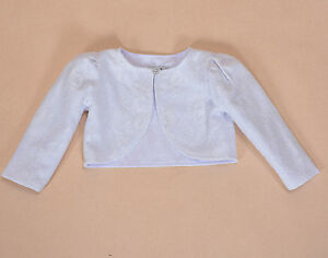 Cinda Lace Long Sleeve Baby Bolero Jacket 0-3 3-6 6-12 12-18 in White Pink Ivory