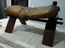 VINTAGE LEATHER WOOD EGYPTIAN CAMEL SADDLE OTTOMAN STOOL SEAT FOOT STOOL
