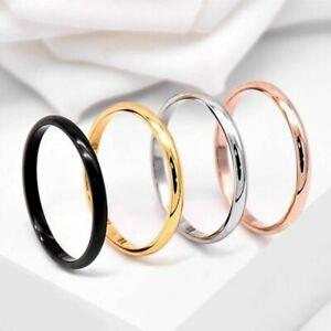 2mm Thin Band Rings Men Women's Titanium Steel Engagement Ring Gift Size 3-10
