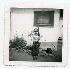 1959  b/w vintage photo Young boy soldier costume Future Marine USMC  1950s