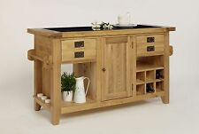 Handmade Oak Kitchen Islands & Carts with Bottles Wine Racks