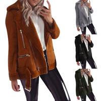 Womens Jacket Coat Fleece Fur Biker Aviator Lapel Casual Zip Outwear Winter Warm