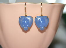 Vintage Egyptian chalcedony glass heart scarab beetle raised relief earrings