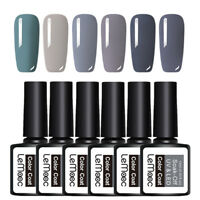 LEMOOC 6Pcs 12ml Nagel Gellack Gel UV Soak Off Nail Art UV Gel Polish Grey Kit