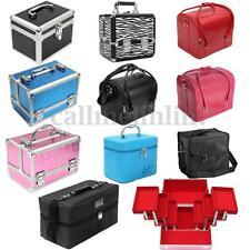 Large Aluminium PU Leather Cosmetic Makeup Nail Box Vanity Jewelry  Storage Case