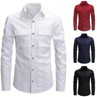 Business Office Work Men Slim Fit Long Sleeve Stand Collar Two Pockets Shirt HOT