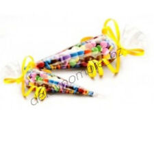 50 Clear Cello Cone Bags Lollies Party Favours Christmas Candy Treat Birthday