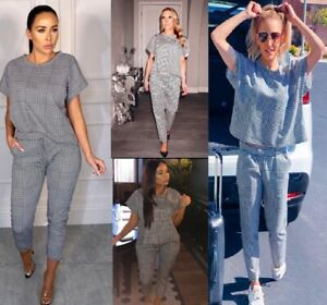 Ladies Woemns Mono Check 2 Pc Top Bottom Loungewear Boxy Baggy Comfy Suit Set UK