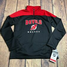 NHL Youth Boys Large 14/16 New Jersey Devil 1/4 Zip Pullover Track Jacket New