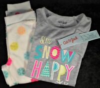Cat & Jack Girls I'm Snow Happy Pajama Lounge 2 Piece Set - Fleece Bottom - NWT