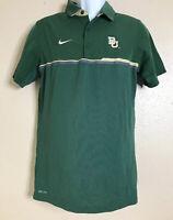 Nike Men Size S Green Polo Baylor University Bears Dri-Fit