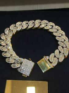 11,41 Cts Runde Prinzess Cut Diamanten Herren Cuban Link Armband In 585 14K Gold