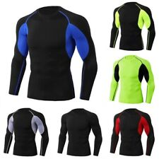 Men's layer Skin Base Workout New Mock T-Shirt Long Sleeves Compression Neck Top