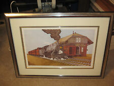 Original Vintage Train Lithograph Eastbound Run by William Coombs Signed