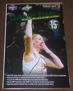 LAUREN JACKSON TRIBUTE NIGHT JERSEY RETIREMENT PROGRAM POSTER SEATTLE STORM WNBA