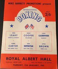 Rare HENRY COOPER v DICK WIPPERMAN Boxing Prog, Royal Albert Hall 12-01-1965