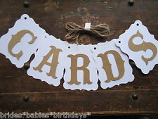 Bunting Banner Flags Garland CARDS White Brown Wedding Photo Birthday DIY W4