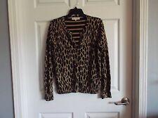 EUC Jones of N.Y. Sport Womens L brown animal print long sleeve sweater