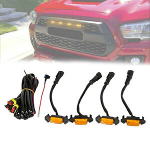 For 2016-2019 Toyota Tacoma Amber Lens Raptor Style Grill LED Lights w/Harness