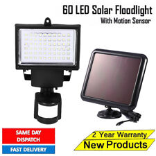 60 LED Bright Solar Powered PIR Sensor Flood Security Light Outdoor Garden Wall