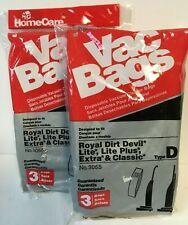 Home Care Type D Vac Bags Royal Dirt Devil No. 3055 (3) Pack Vacuum Bag 2pk