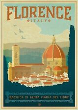 "Reproduction Vintage Italian ""Florence"" Poster, Home Wall Art, Size A2"