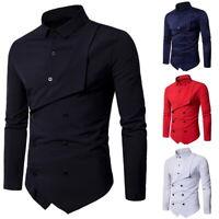 Herren Slim Fit Shirt Hemd Oberhemd Freizeithemd Langarm Hemden Zweireiher