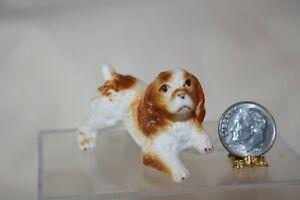 Miniature Dollhouse Vintage Bone China Cocker Spaniel Dog Brown & White 1:12 NR