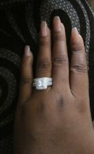 Silver Wedding Engagement Ring Size 7 Women Princess Cut White Cz 925 Sterling