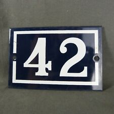 French Vintage Blue Enamel Metal Street Number n°42 Door House Plaque