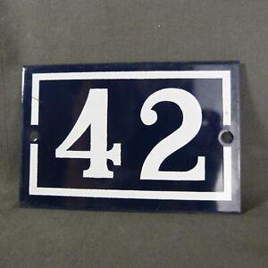 French Vintage Blue Enamel Metal Street Number n°42 Door House Plaque